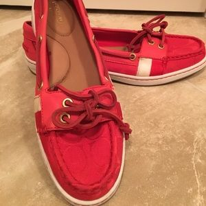 Coach coral boat shoes